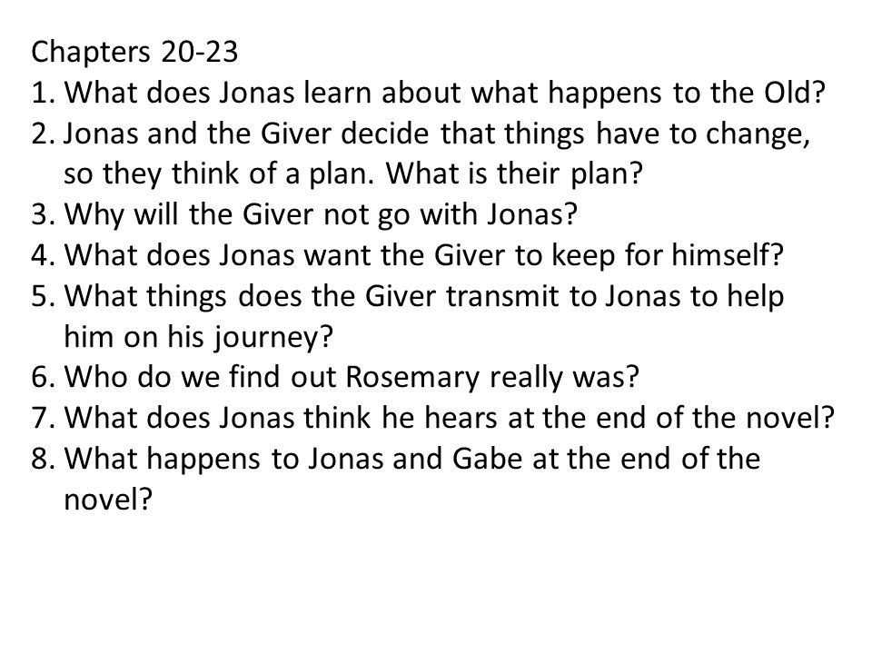Chapters 20-23 What does Jonas learn about what happens to the Old