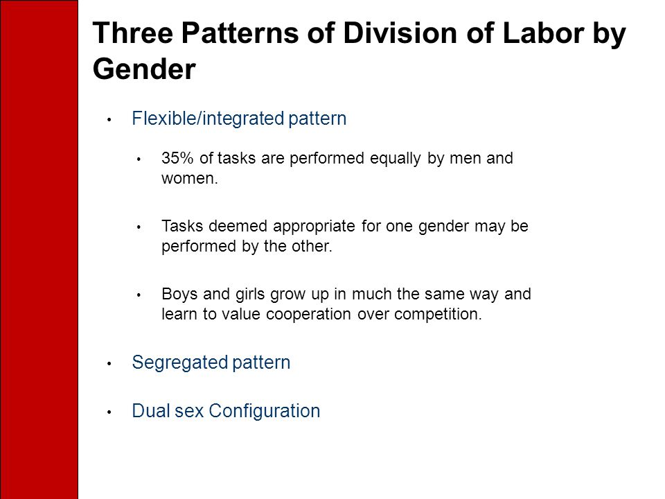 Three Patterns of Division of Labor by Gender