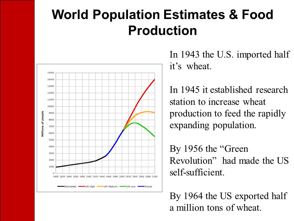 World Population Estimates & Food Production