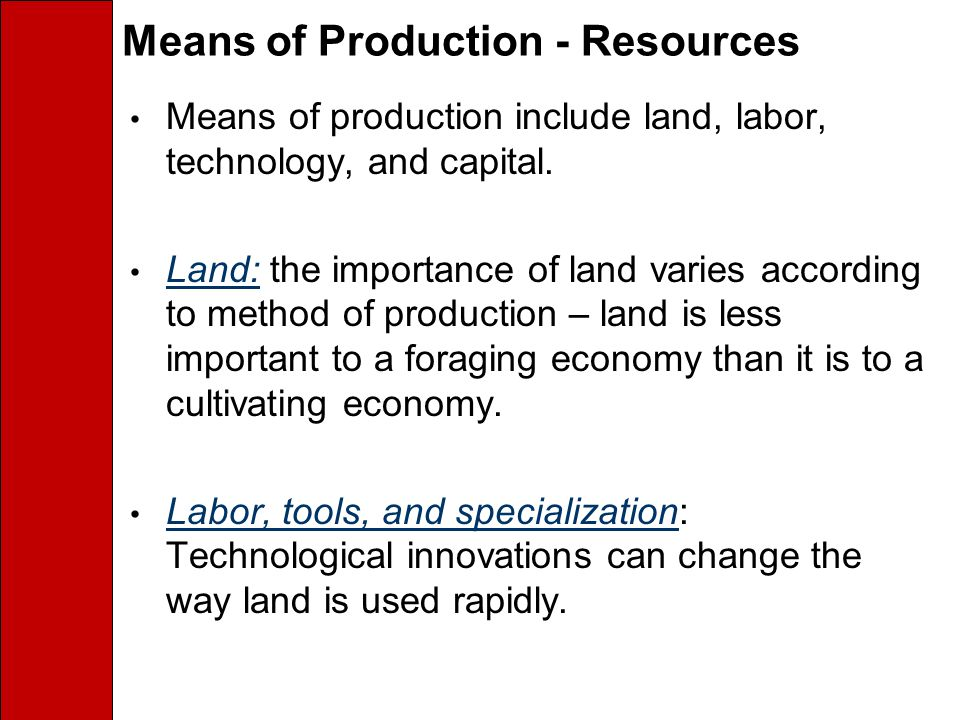 Means of Production - Resources