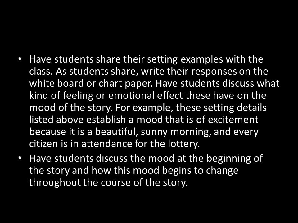 Have students share their setting examples with the class