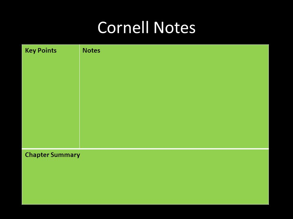 Cornell Notes Key Points Notes Chapter Summary