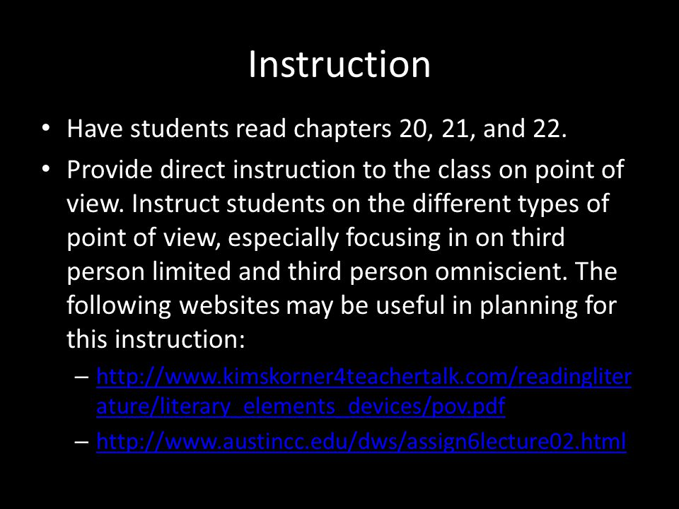 Instruction Have students read chapters 20, 21, and 22.