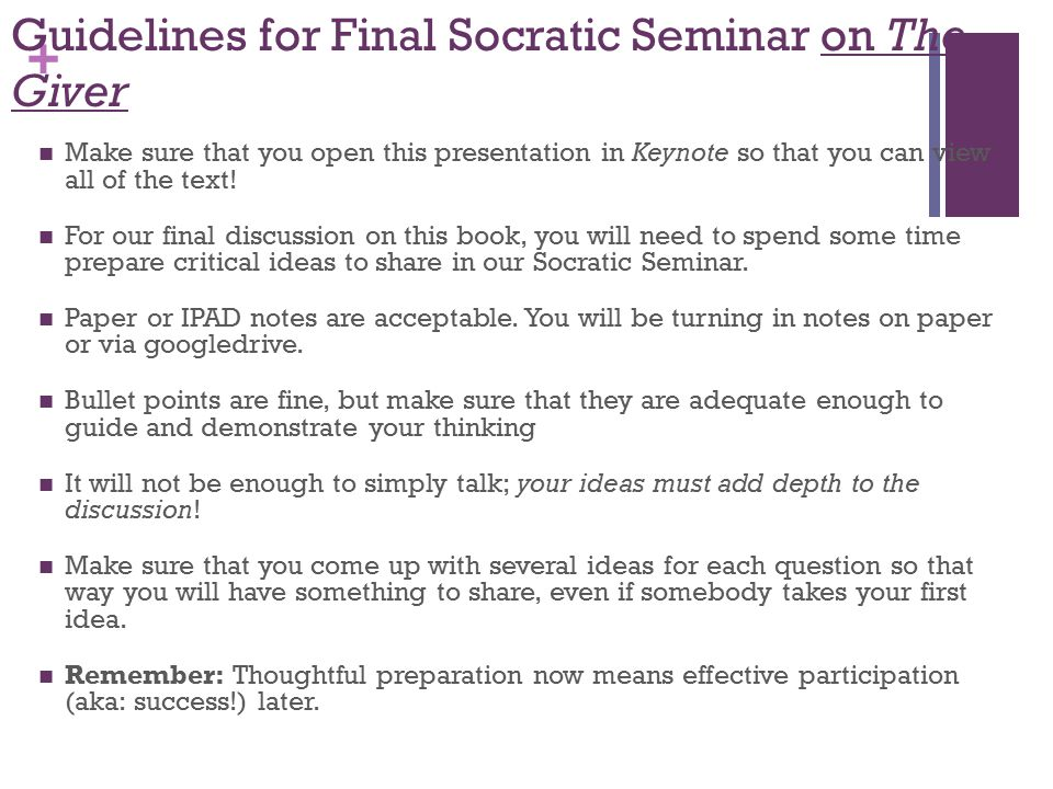 Guidelines for Final Socratic Seminar on The Giver