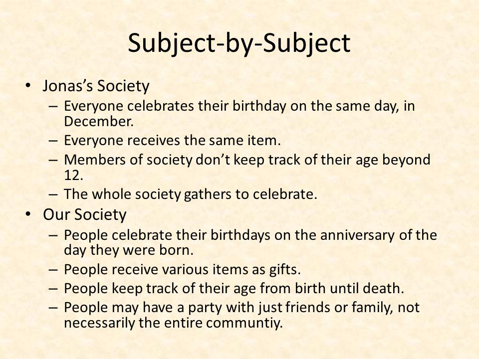 Subject-by-Subject Jonas's Society Our Society