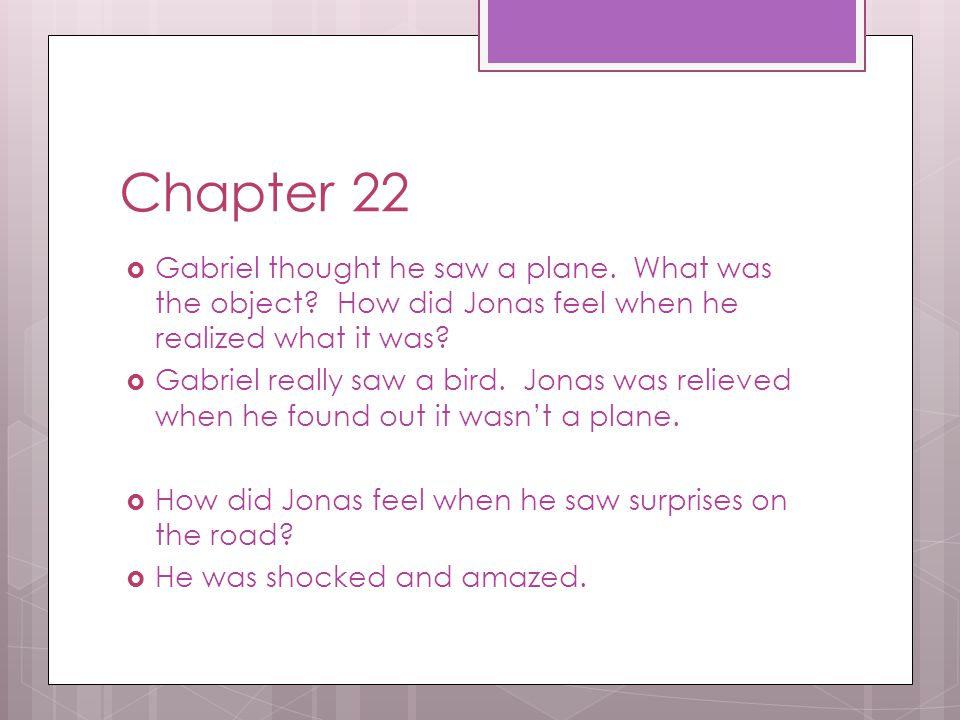 Chapter 22 Gabriel thought he saw a plane. What was the object How did Jonas feel when he realized what it was