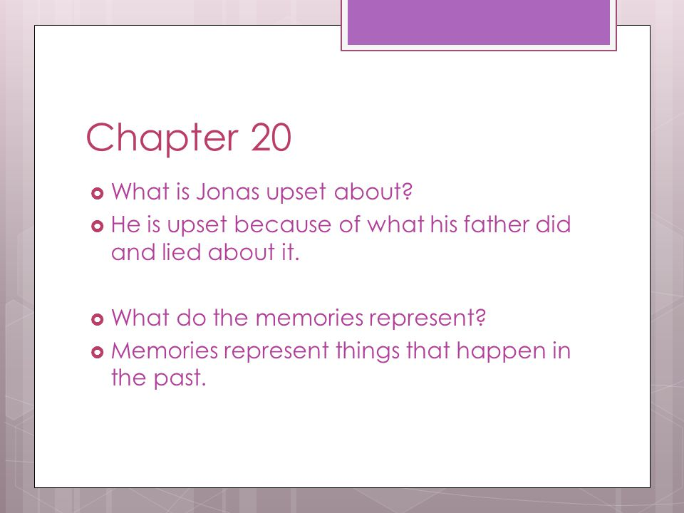 Chapter 20 What is Jonas upset about