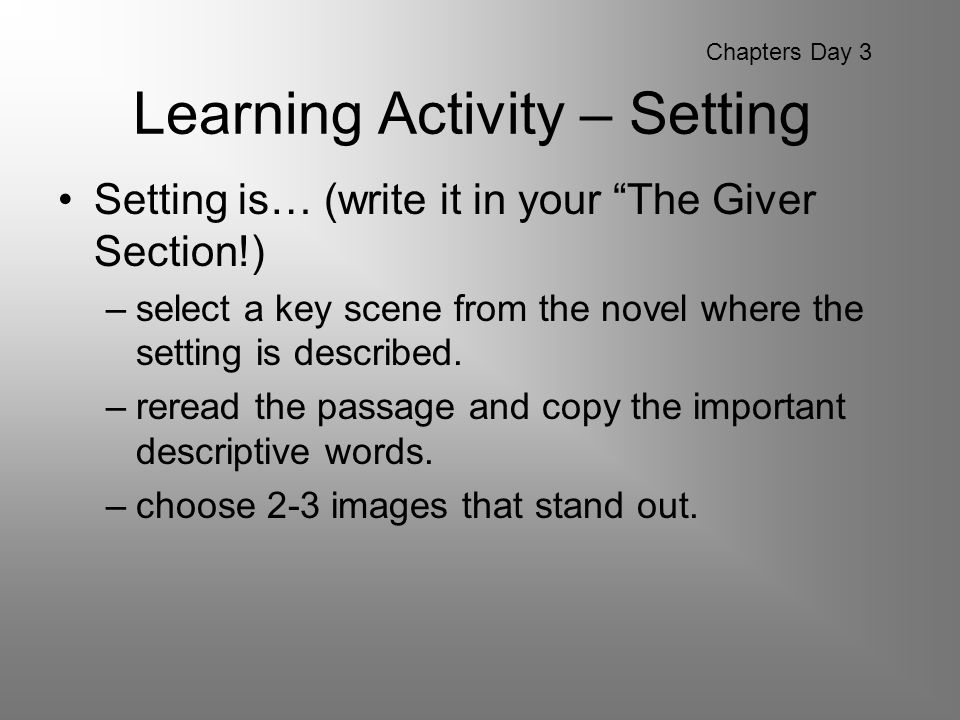 Learning Activity – Setting