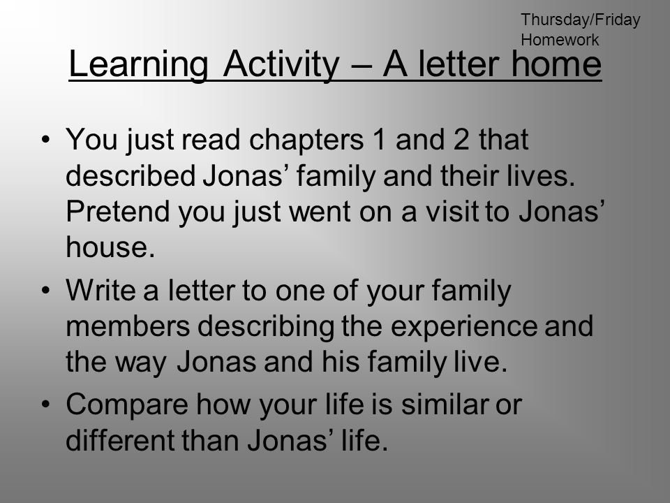 Learning Activity – A letter home