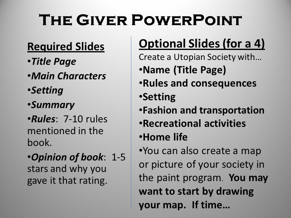 The Giver PowerPoint Optional Slides (for a 4) Required Slides