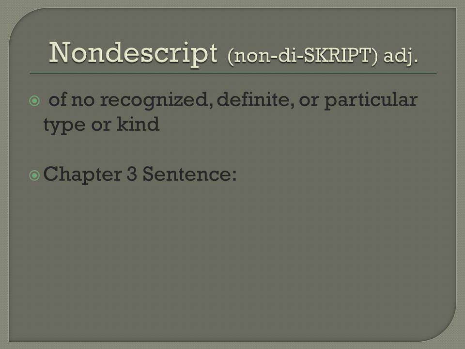 Nondescript (non-di-SKRIPT) adj.
