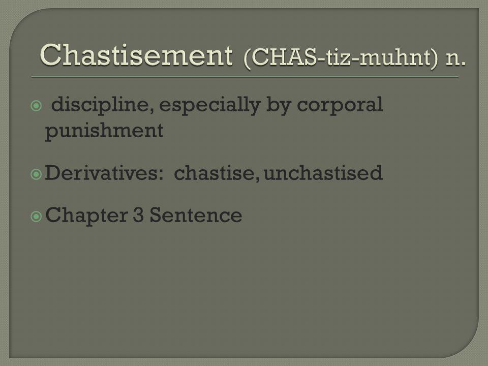 Chastisement (CHAS-tiz-muhnt) n.