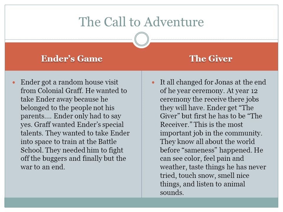 The Call to Adventure Ender's Game The Giver