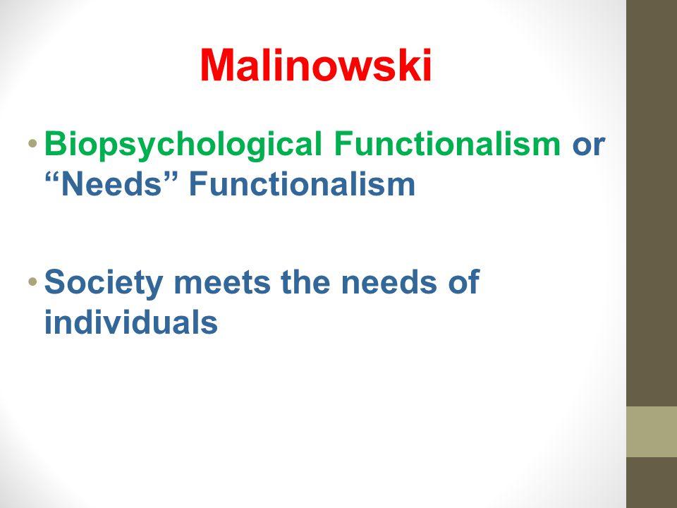 Malinowski Biopsychological Functionalism or Needs Functionalism