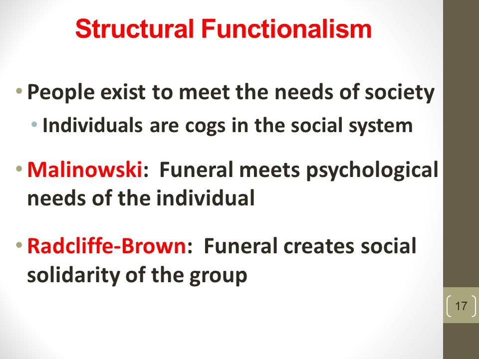 "structure functionalism According to herbert spencer, functionalism ""sees society as a structure with  interrelated parts designed to meet the biological and social."