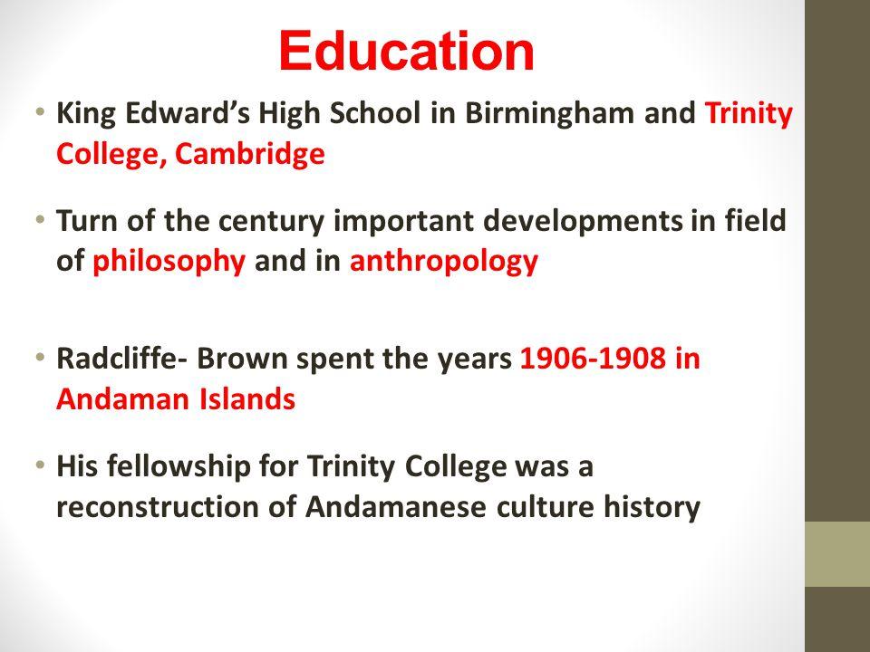 Education King Edward's High School in Birmingham and Trinity College, Cambridge.