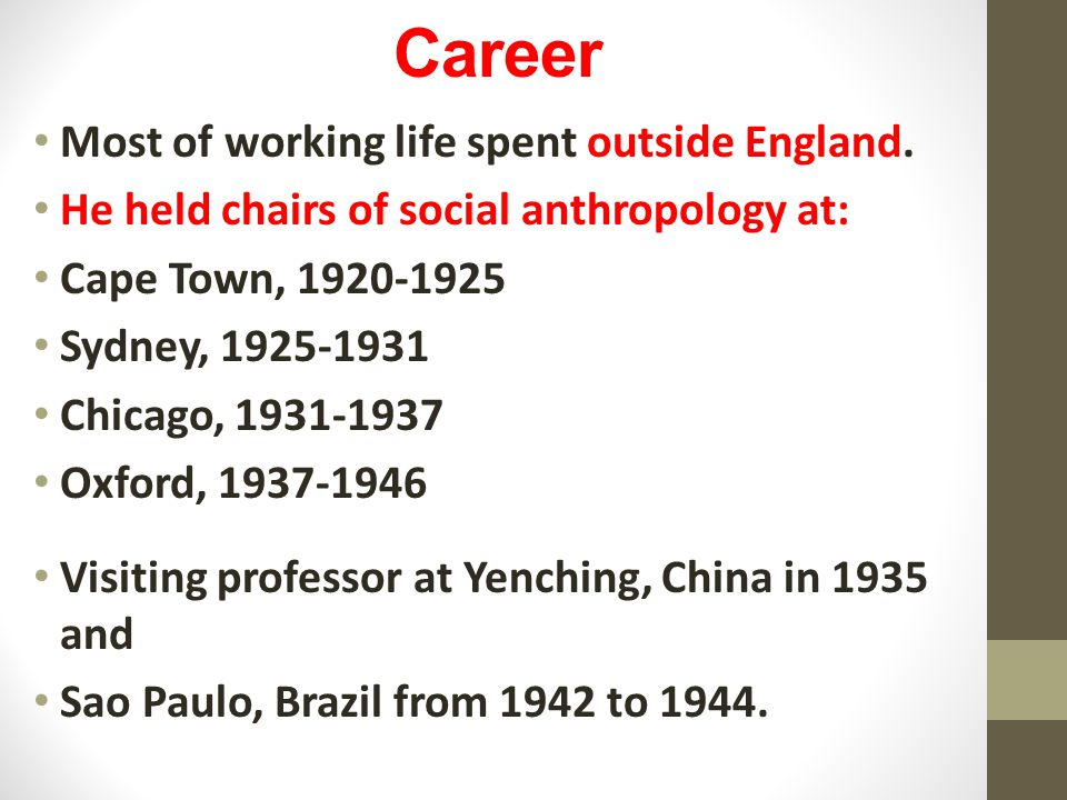 Career Most of working life spent outside England.
