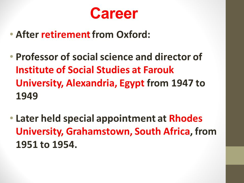 Career After retirement from Oxford: