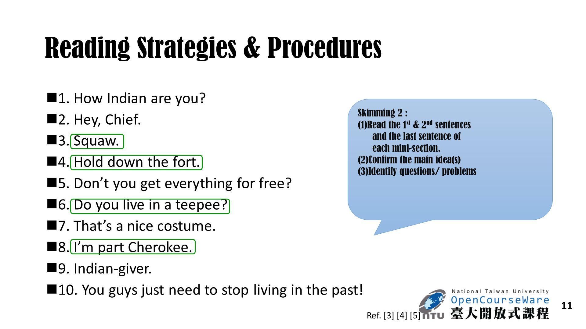 Reading Strategies & Procedures