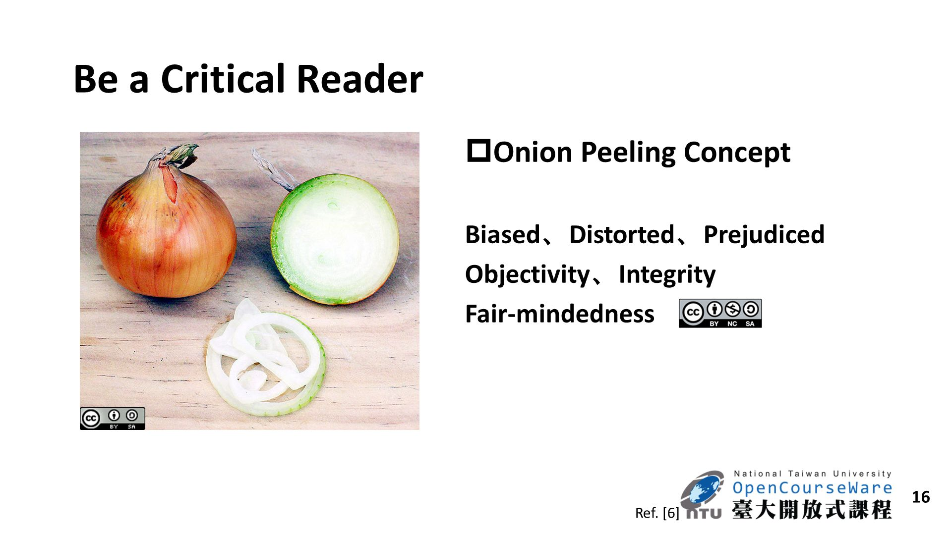 Be a Critical Reader Onion Peeling Concept Biased、Distorted、Prejudiced