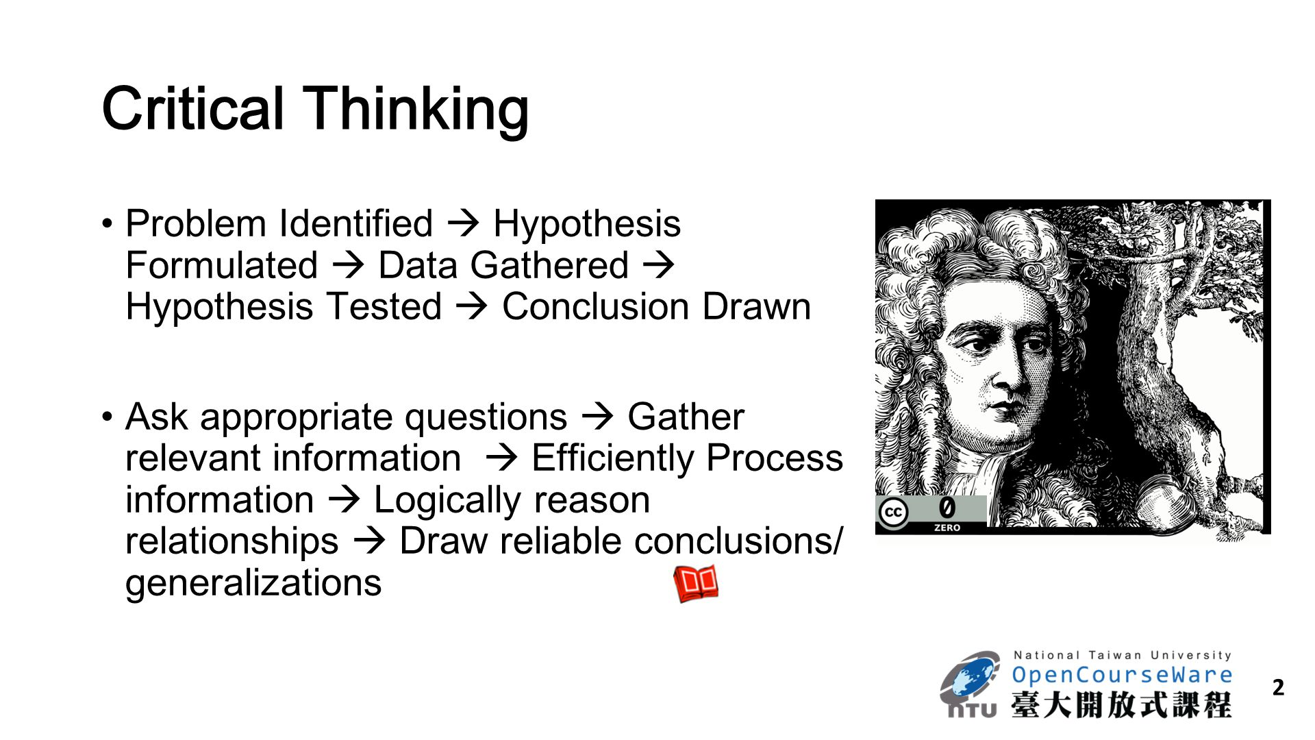 Critical Thinking Problem Identified  Hypothesis Formulated  Data Gathered  Hypothesis Tested  Conclusion Drawn.