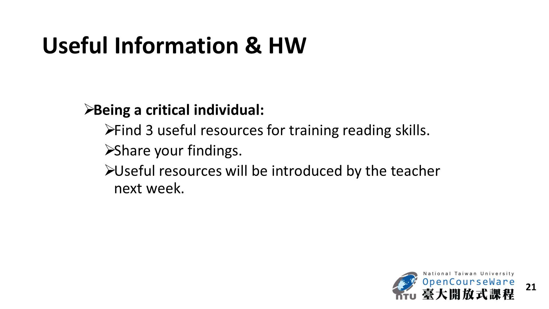 Useful Information & HW