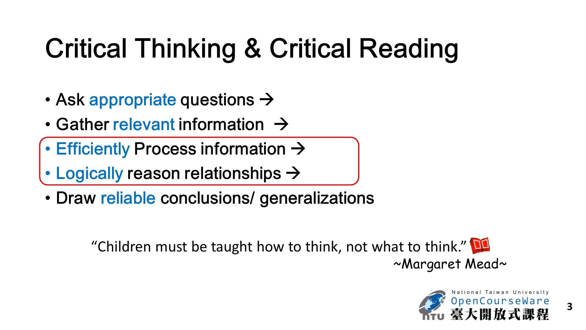 Critical Thinking & Critical Reading