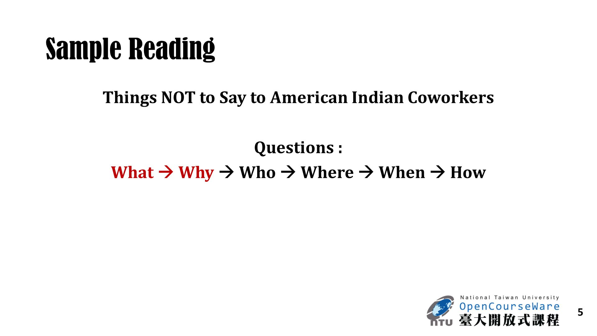 Sample Reading Things NOT to Say to American Indian Coworkers
