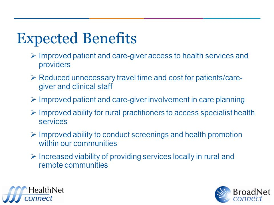 Expected Benefits Improved patient and care-giver access to health services and providers.