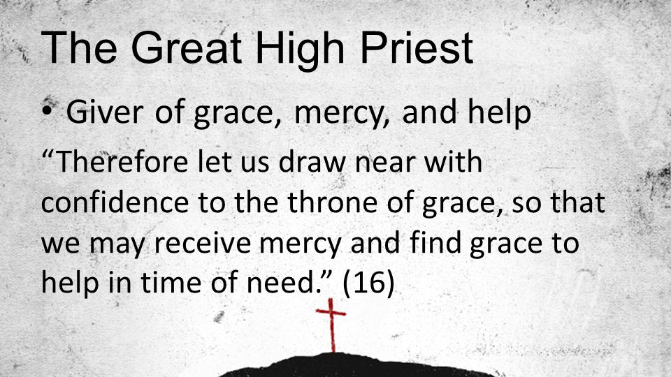 The Great High Priest Giver of grace, mercy, and help