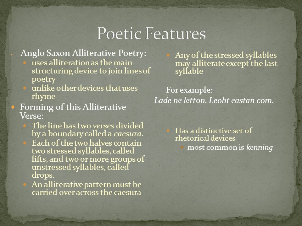 Poetic Features Forming of this Alliterative Verse: