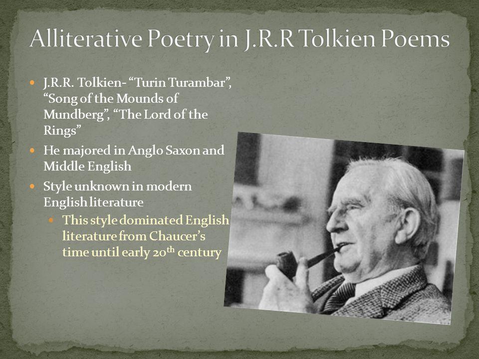 Alliterative Poetry in J.R.R Tolkien Poems