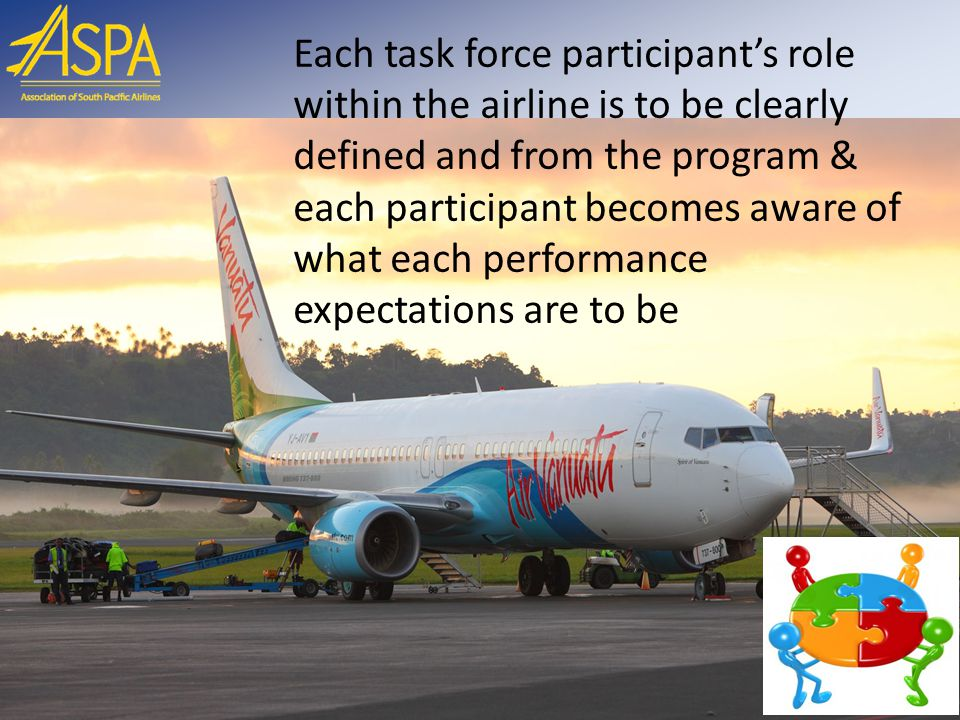 Each task force participant's role within the airline is to be clearly defined and from the program & each participant becomes aware of what each performance expectations are to be