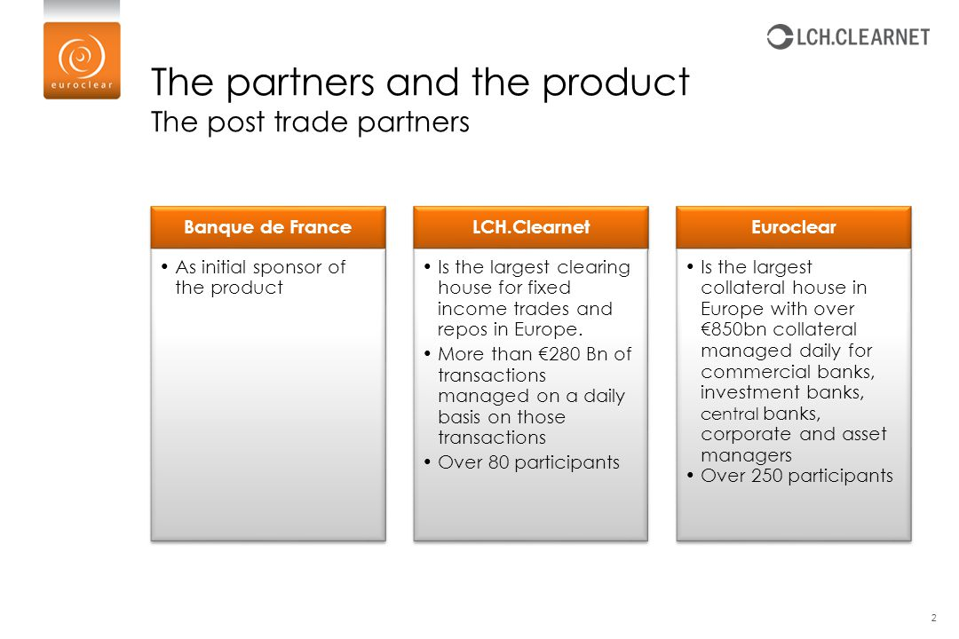 The partners and the product The post trade partners