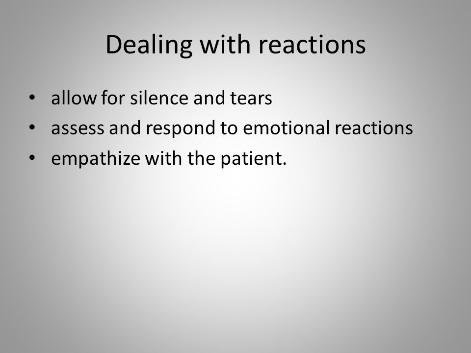 Dealing with reactions