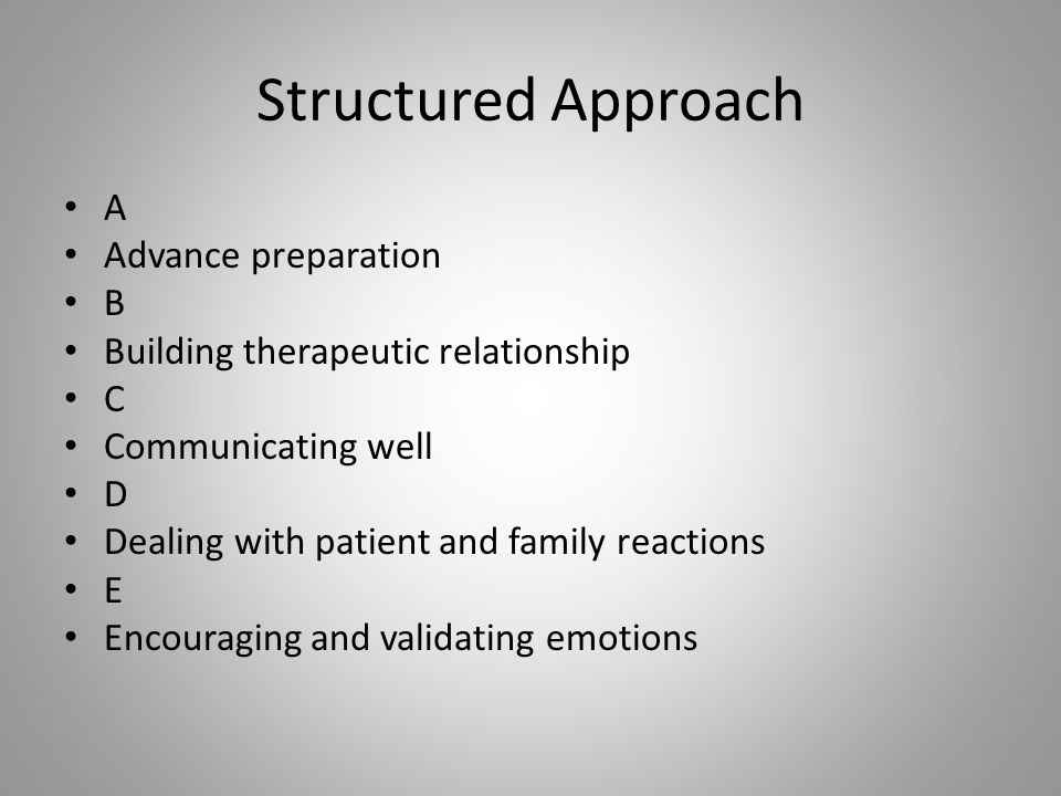 Structured Approach A Advance preparation B