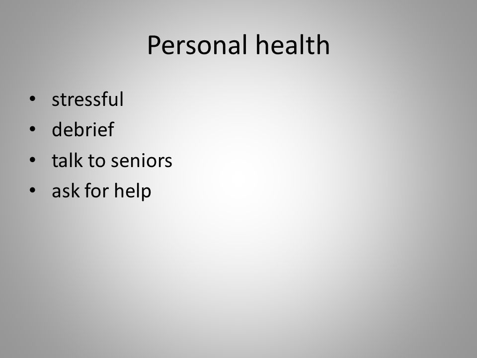 Personal health stressful debrief talk to seniors ask for help