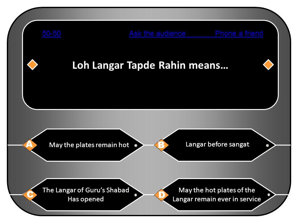 Loh Langar Tapde Rahin means…