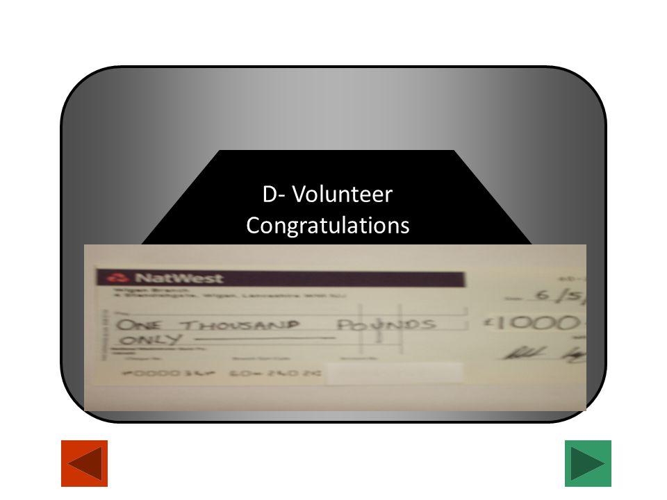 Congratulations D- Volunteer Congratulations