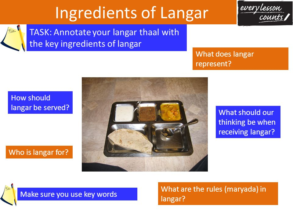 Ingredients of Langar TASK: Annotate your langar thaal with the key ingredients of langar. What does langar represent