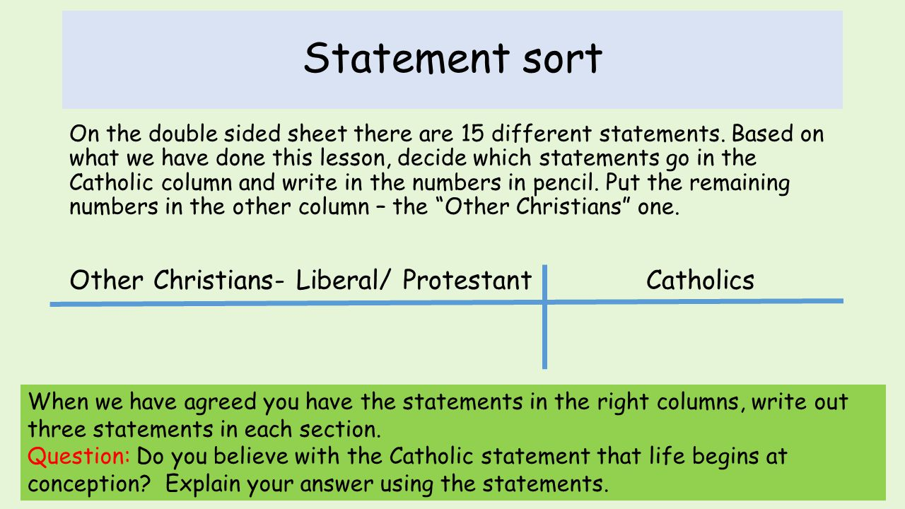 Statement sort Other Christians- Liberal/ Protestant Catholics
