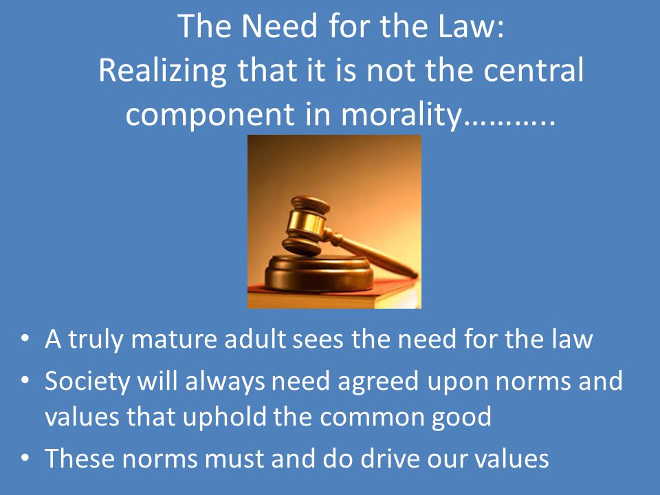 The Need for the Law: Realizing that it is not the central component in morality………..