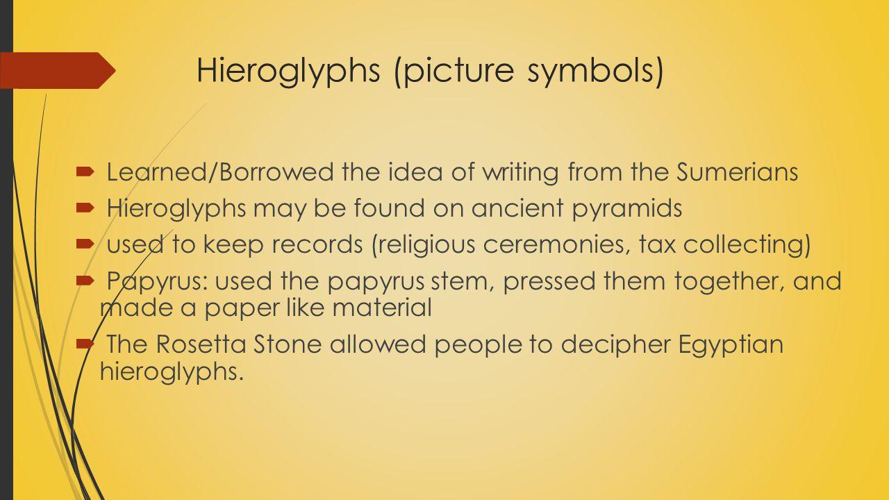 Hieroglyphs (picture symbols)