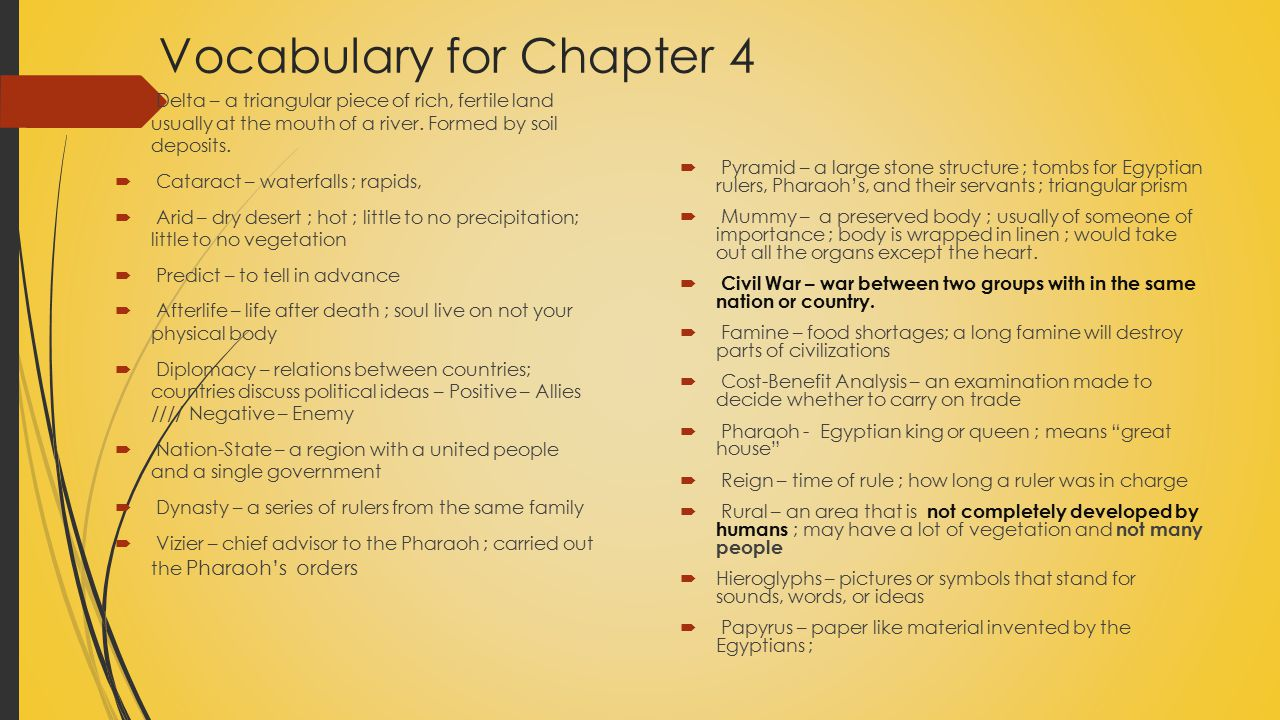 Vocabulary for Chapter 4