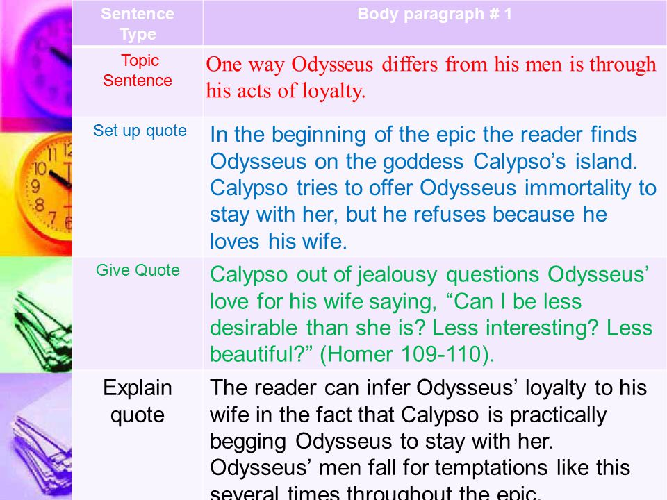 One way Odysseus differs from his men is through his acts of loyalty.