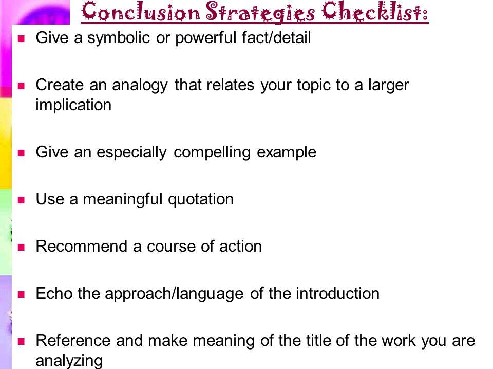Conclusion Strategies Checklist: