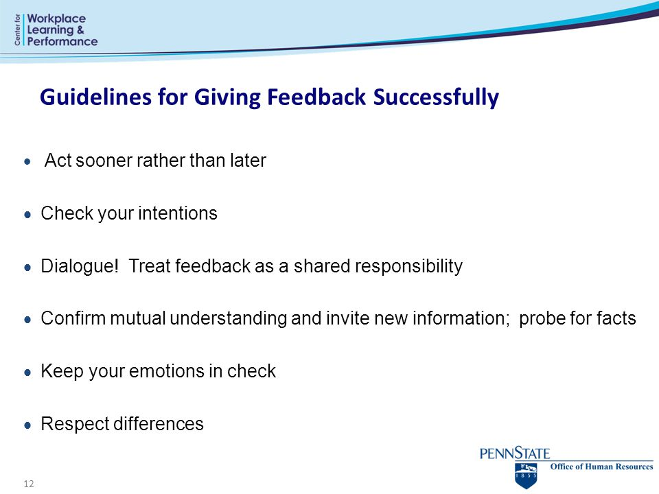 Guidelines for Giving Feedback Successfully