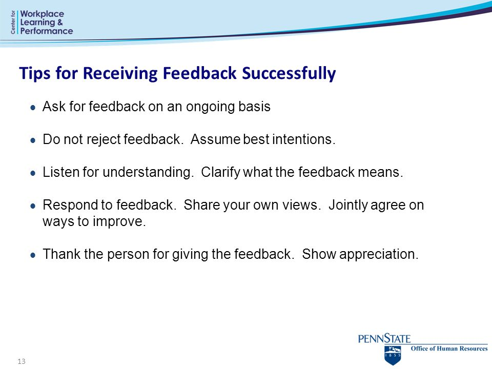 Tips for Receiving Feedback Successfully