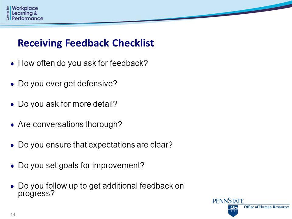 Receiving Feedback Checklist