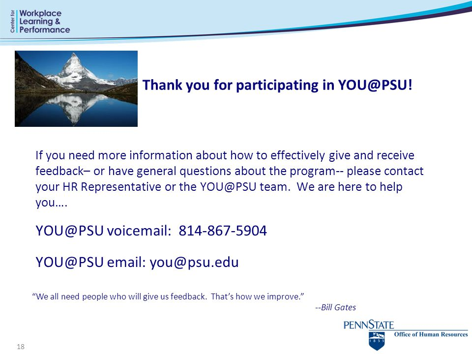 Thank you for participating in YOU@PSU!